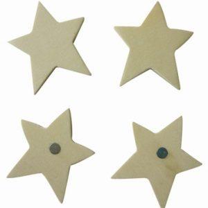Magnet à décorer - Etoile en bois x 4