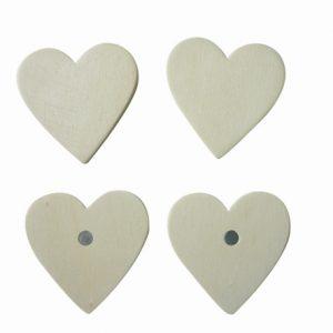 Magnet à décorer - Cœur en bois x 4