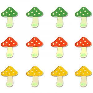 Lot de 12 champignons en bois peint