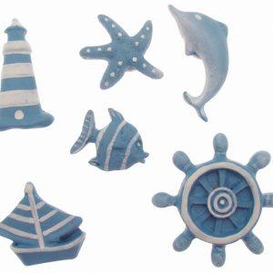 6 formes en bois peint 3 cm – Thème mer