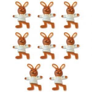 Lot de 8 lapins en bois peint