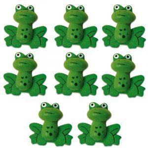 Lot de 8 grenouilles en bois peint