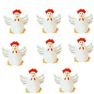 Lot de 8 poules 3D en bois peint