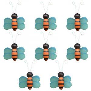 Lot de 8 abeilles 3D en bois peint