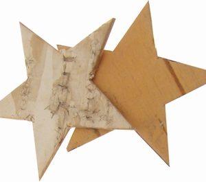 Lot de 10 étoiles en écorce de bouleau