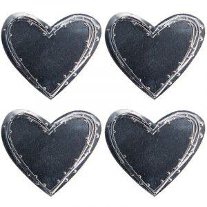 Décor en métal adhésif - Cœur x 4