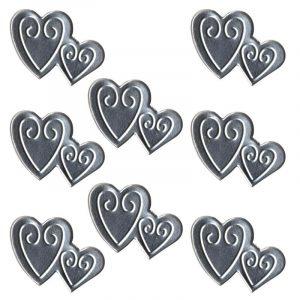 Décor en métal adhésif - Cœurs enlacés x 8