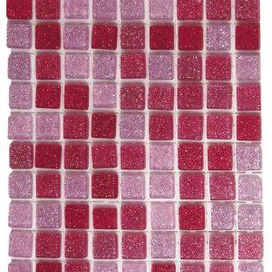 Mosaïque autocollante acrylique pailletée carrés rose