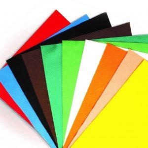 10 coupons de feutrine 1mm coloris assortis - 24 x 30 cm