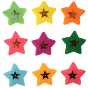9 étoiles perlées adhésives - coloris assortis 3 x 3 cm