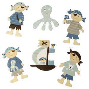 6 enfants pirates en bois peint - 4,5 cm