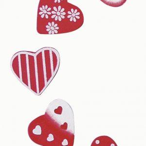 Lot de 20 cœurs décorés en bois peint 2 cm