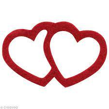 Cœurs enlacés en feutrine ivoire et rouge – Love x 14
