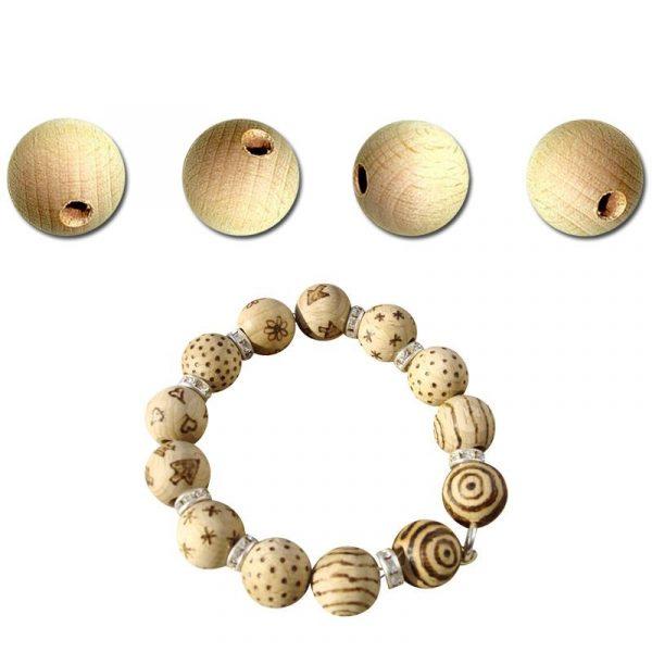 Perles en bois brut - 10 mm x 100