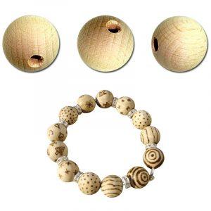 Perles en bois brut - 20 mm x 50