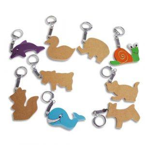 Assortiment de 10 porte-clés animaux à décorer