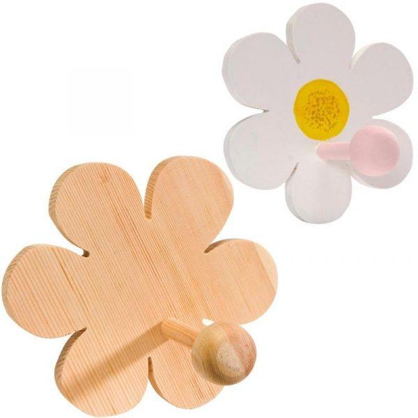 Patère en bois - Fleur