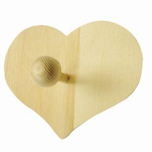 Patère en bois 15 cm - Cœur