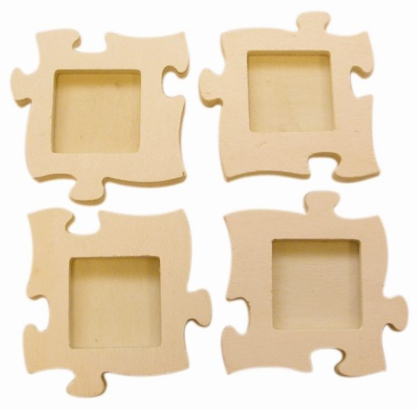 Cadre photo puzzle 4 vues en bois 16 cm
