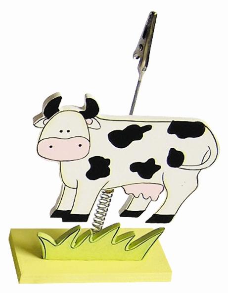 Clip photo en bois 16 cm - Vache