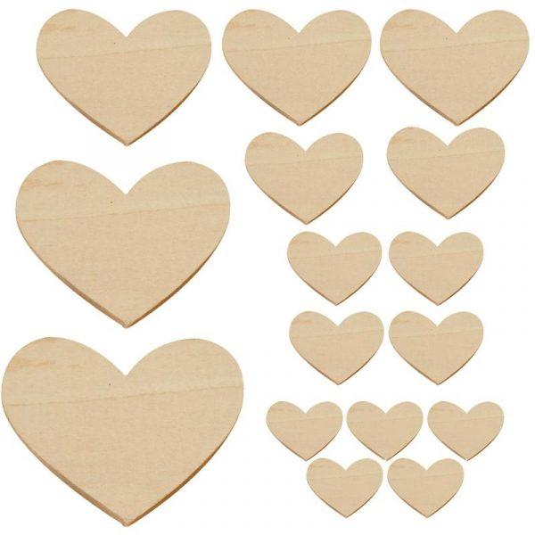 Lot de 16 cœurs en bois