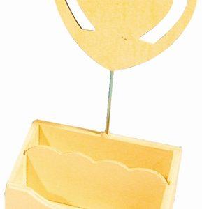 Porte photo et trombones en bois 14 cm - Cœur