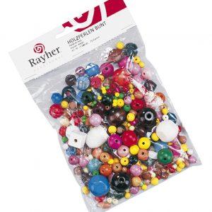 Assortiment de perles en bois multicolores