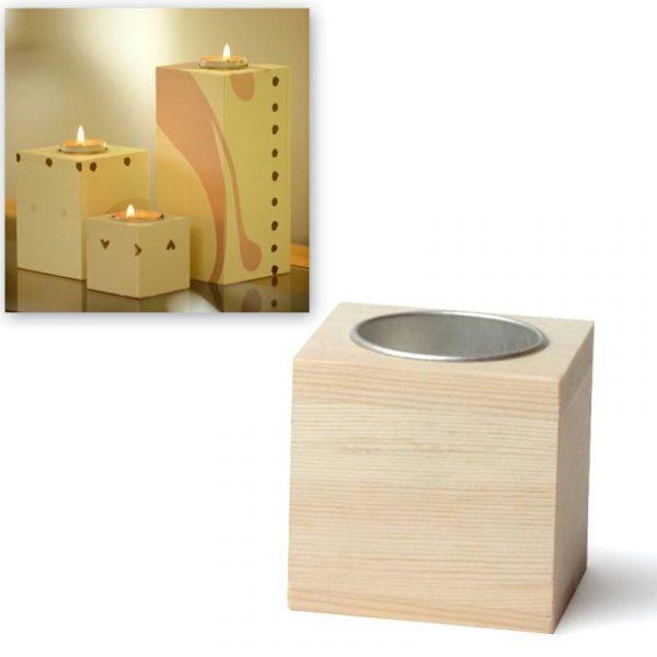 Bougeoir carré en bois - 6 cm
