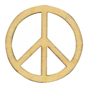 Silhouettes en bois - Symbole Peace & Love 10 cm x 3