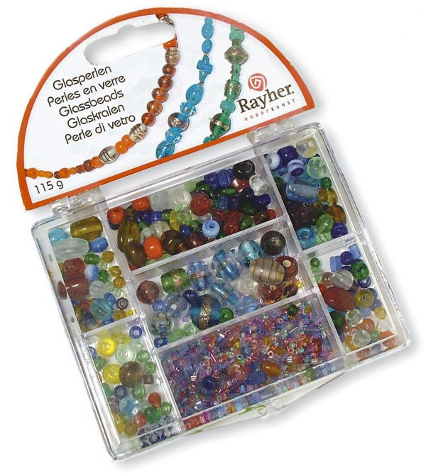 Assortiment de perles en verre multicolore