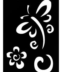 Pochoir pour tatouage adhésif - Libellule et fleur 7 x 10 cm