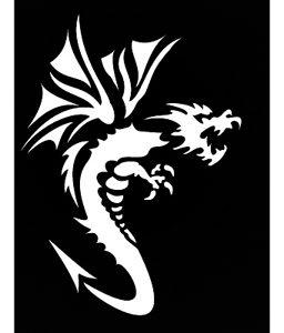 Pochoir pour tatouage adhésif - Dragon 7 x 10 cm
