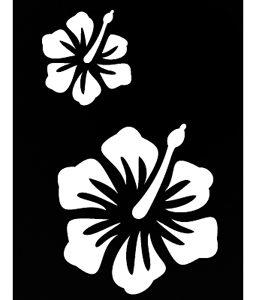 Pochoir tatouage adhésif - Hibiscus 7 x 10 cm
