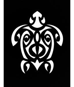 Pochoir pour tatouage adhésif - Tortue Maori 7 x 10 cm