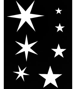 Pochoir pour tatouage adhésif - Etoiles 7 x 10 cm