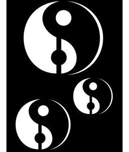 Pochoir pour tatouage adhésif - Ying et Yang 7 x 10 cm