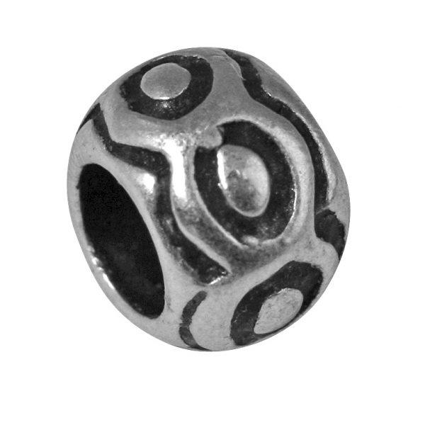 Perle en métal ronde ciselée - 9 mm