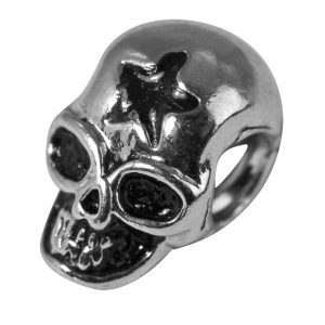 Perle en métal ciselée Tête de mort - 12 mm