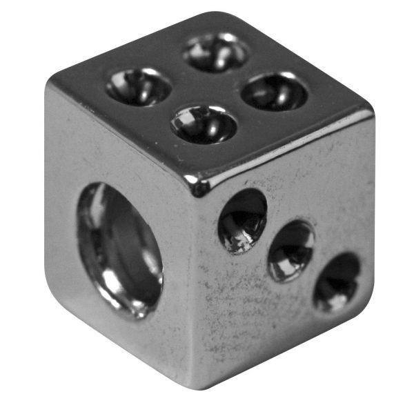 Perle en métal ciselée Dé - 7 mm