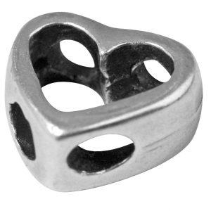 Perle en métal ciselée Cœur évidé - 11 mm