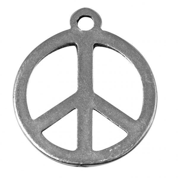 Pendentif breloque Peace & Love en métal - 24 mm