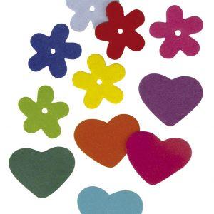 Fleurs et cœurs en carton mousse x 140