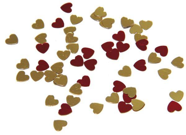 Confettis de table - Cœurs rouges et or