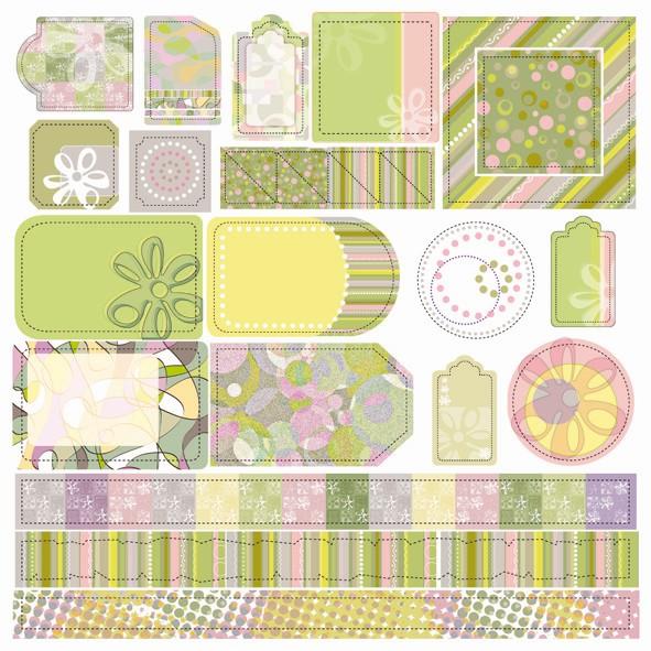 Papier scrapbooking et tags assortis – Flowers x 11 feuilles