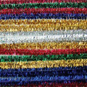Lot de 20 fils chenille scintillants 6 mm x 30 cm - 5 coloris assortis