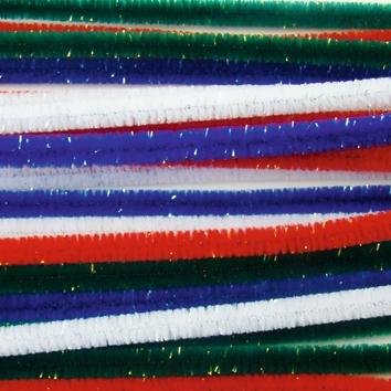 Lot de 24 fils chenille irisés 8mm x 30 cm - 4 coloris assortis