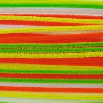 Lot de 28 fils chenille fluo 8mm x 30 cm - 6 coloris assortis