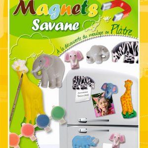 Kit de création de magnets moulés au plâtre - animaux de la savane