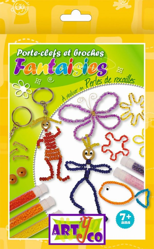 Kit de création de porte-clés et broches en perles de rocaille