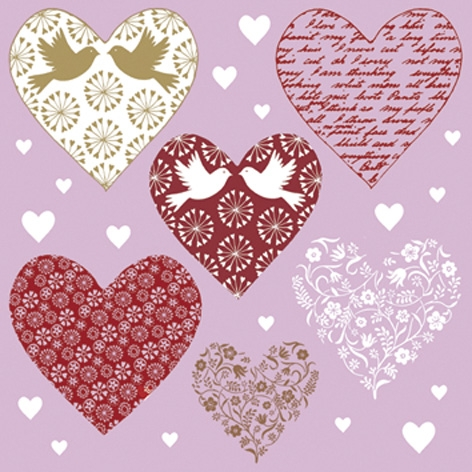 Serviettes en papier - Hearts in love